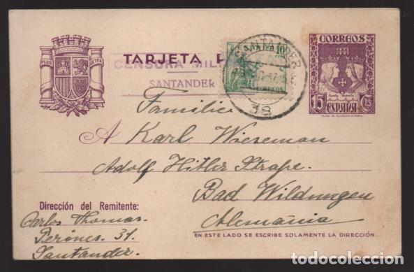 POSTAL CIRCULADA DE SANTANDER A ALEMANIA- C.M. SANTANDER- 19-12-37. VER FOTOS (Sellos - España - Guerra Civil - Locales - Cartas)