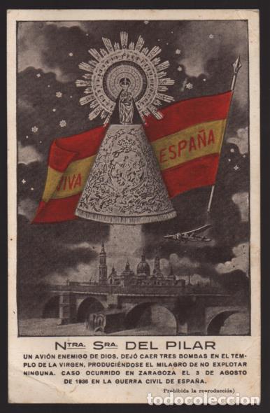 POSTAL.- NNTRA. SRA. DEL PILAR- 3 BOMBAS SIN EXPLOTAR..- VER FOTOS (Sellos - España - Guerra Civil - Locales - Cartas)