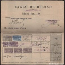 Sellos: LIBRETA DEL BANCO BILBAO. AÑOS 1935--CON SELLOS- AL AÑO 1950- VER FOTOS. Lote 205440172
