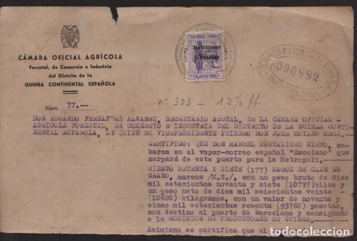 GUINEA ESPAÑOLA- SELLO HABILITADO 3 PTAS- SELLO EN TINTA B. EXTERIOR ESPAÑA-BARCELONA- MITAD DOCUME (Sellos - España - Guerra Civil - Locales - Cartas)