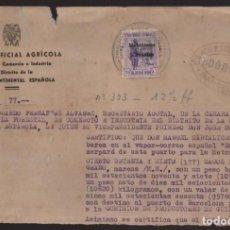 Sellos: GUINEA ESPAÑOLA- SELLO HABILITADO 3 PTAS- SELLO EN TINTA B. EXTERIOR ESPAÑA-BARCELONA- MITAD DOCUME. Lote 205443741
