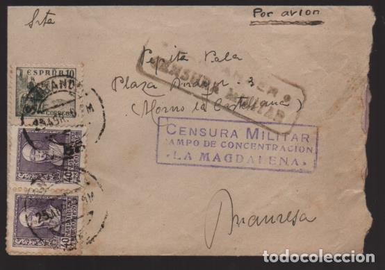 SANTANDER, A MANRESA. CARTA Y SOBRE. --CAMPO CONCENTRACION --LA MAGDALENA-- DOBLE C.M.- VER FOTOS (Sellos - España - Guerra Civil - Locales - Cartas)