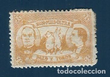 VN2-28 VIÑETA SATIRICA 1900 CA. NON-PLUS-ULTRA. PALO Y TOROS. COLOR AMARILLO (Sellos - España - Guerra Civil - Viñetas - Nuevos)