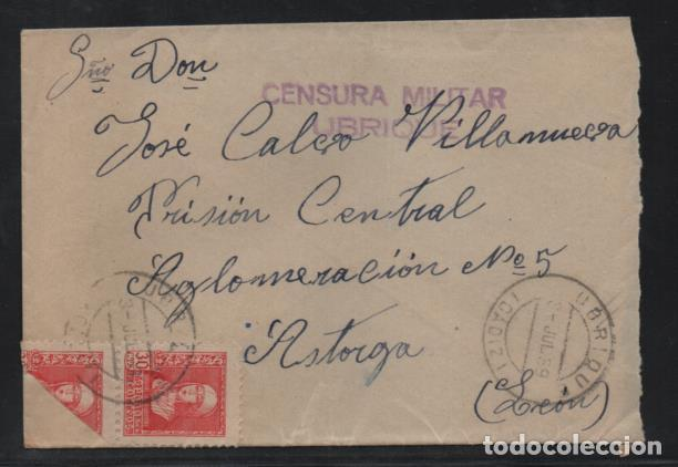 CARTA DE UBRIQUE A ASTORGA, PRISION CENTRAL- C.M. UBRIQUE.- SELLO 30 CTS, BICEPTADO- VER FOTOS (Sellos - España - Guerra Civil - Locales - Cartas)