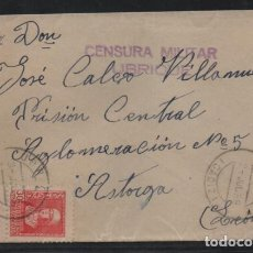 Sellos: CARTA DE UBRIQUE A ASTORGA, PRISION CENTRAL- C.M. UBRIQUE.- SELLO 30 CTS, BICEPTADO- VER FOTOS. Lote 205543508