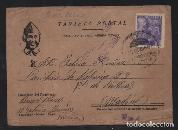 MADRID. POSTAL -PRISION DE YESERIAS.- DOBLE C.M. MADRID Y PRISION- VER FOTOS (Sellos - España - Guerra Civil - Locales - Cartas)
