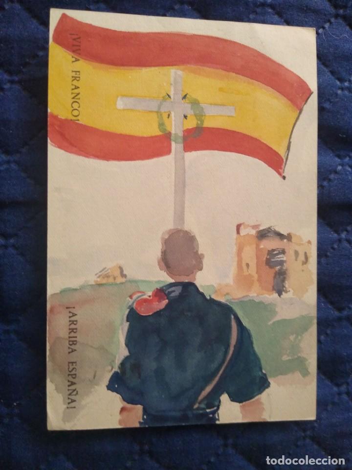 Sellos: Frente juventudes. Falanges de voluntarios. Portugalete Enviada Franco Vizcaya. Dibujo patriótico. - Foto 2 - 205550917