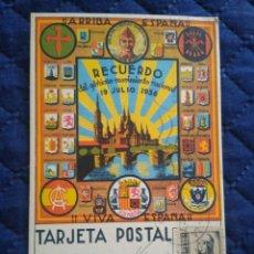 Sellos: POSTAL PATRIÓTICA RECUERDO MOVIMIENTO NACIONAL. ZARAGOZA. ENVIADA A FRANCO. SALAMANCA 1937.. Lote 205552376