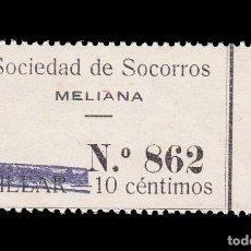 Sellos: *** RAROS 10 CTS. SOCIEDAD DE SOCORROS, MELIANA VALENCIA, TACHADO BILLAR. NUEVO ***. Lote 205575586