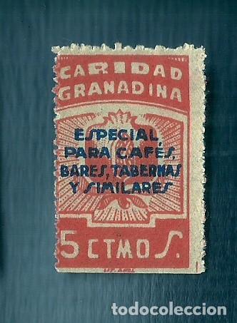V1-2 GUERRA CIVIL GRANADA CARIDAD GRANADINA FESOFI Nº 66 SOBRECARGA AZUL VALOR 5 CTS COLOR NARANJA (Sellos - España - Guerra Civil - Viñetas - Nuevos)
