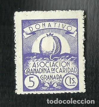 V1-2 GUERRA CIVIL GRANADA CARIDAD GRANADINA FESOFI Nº 67 VALOR 5 CTS COLOR VIOLETA (Sellos - España - Guerra Civil - Viñetas - Nuevos)