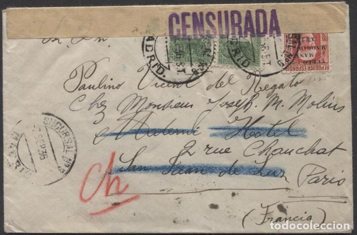 1936 MADRID A SAN JUAN DE LUZ (FRANCIA) REEXPEDIDA A PARÍS. LLEGADAS (Sellos - España - Guerra Civil - De 1.936 a 1.939 - Cartas)