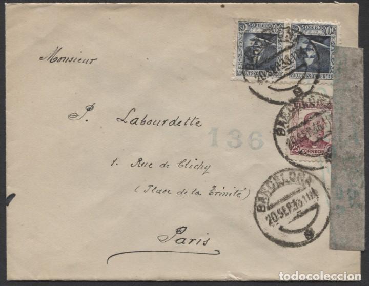 1936 BARCELONA A PARÍS (Sellos - España - Guerra Civil - De 1.936 a 1.939 - Cartas)