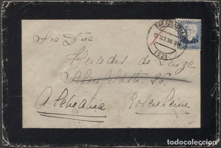 1936 SAN SEBASTIÁN A ALEMANIA. LLEGADA (Sellos - España - Guerra Civil - De 1.936 a 1.939 - Cartas)