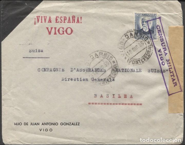 1936 VIGO A BASILEA. (Sellos - España - Guerra Civil - De 1.936 a 1.939 - Cartas)
