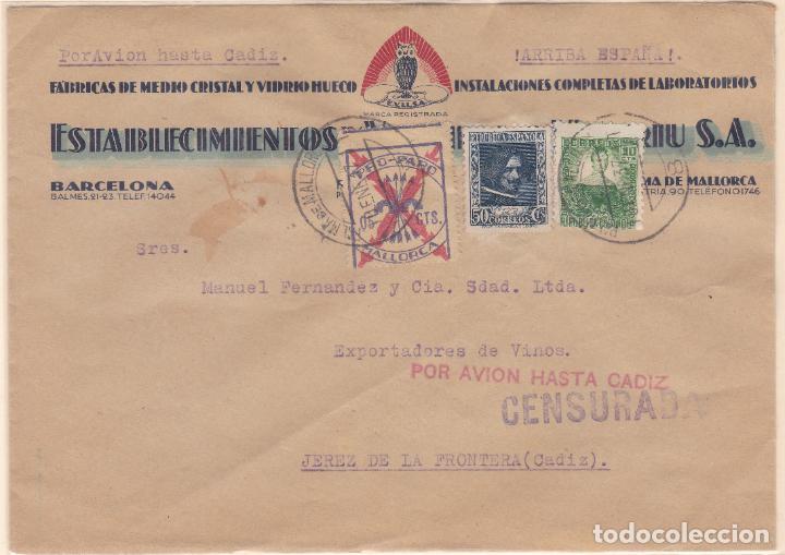 CARTA DE MALLORCA A JEREZ, FRANQUEO REPÚBLICA Y LOCAL MALLORCA. (Sellos - España - Guerra Civil - De 1.936 a 1.939 - Cartas)