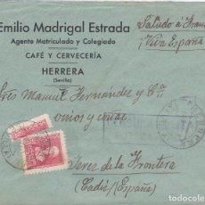 Sellos: ESPAÑA.- CARTA DE HERRERA A JEREZ, SELLO 857 Y TRISECTADO. Lote 206134623