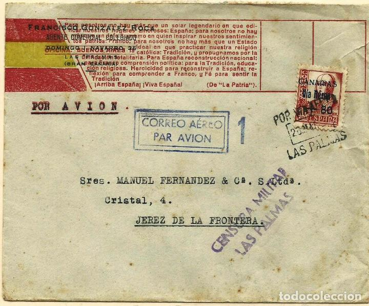 CARTA DE LAS PALMAS A JEREZ, CON SELLO CANARIAS Y IMPRESION PATRIOTICA (Sellos - España - Guerra Civil - De 1.936 a 1.939 - Cartas)