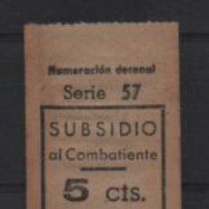 Sellos: BARCELONA.- 5 CTS. SUBSIDIO AL COMBATIENTE- VER FOTO. Lote 206197150