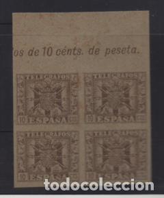 TELEGRAFOS, BLOQUE DE 4- PAPEL TIPO CARTULINA SIN DENTAR- VER FOTO (Sellos - España - Guerra Civil - Viñetas - Nuevos)