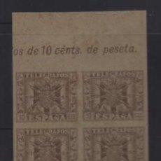 Sellos: TELEGRAFOS, BLOQUE DE 4- PAPEL TIPO CARTULINA SIN DENTAR- VER FOTO. Lote 206207177