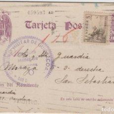 Sellos: LOTE V- TARJETA POSTAL GUERRA CIVIL CENSURA MILITAR GUIPUZCUZA PAIS VASCO FEBRERO DE 1939. Lote 206245126