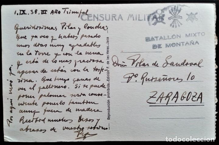 ARAGÓN VALLE DE TENA SALLENT HUESCA 1938 BATALLÓN MIXTO DE MONTAÑA CENSURA MILITAR POSTAL LA DULA (Sellos - España - Guerra Civil - De 1.936 a 1.939 - Cartas)