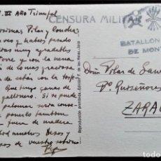 Sellos: ARAGÓN VALLE DE TENA SALLENT HUESCA 1938 BATALLÓN MIXTO DE MONTAÑA CENSURA MILITAR POSTAL LA DULA. Lote 206245933