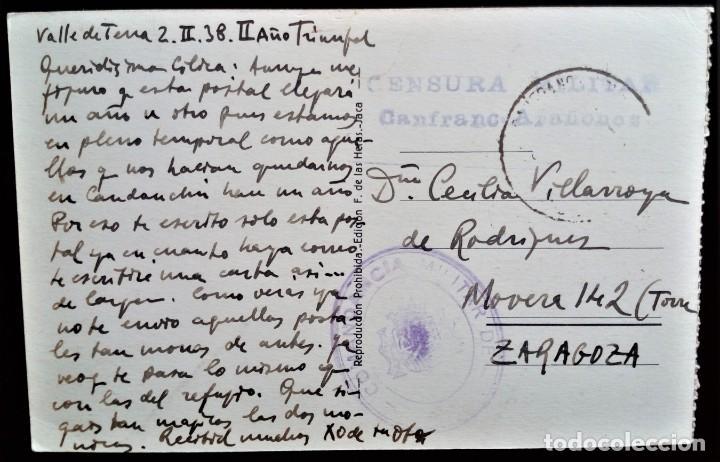 ARAGÓN VALLE DE TENA SALLENT CANFRANC ARAÑONES HUESCA 1938 CENSURA MILITAR COMANDANCIA POSTAL (Sellos - España - Guerra Civil - De 1.936 a 1.939 - Cartas)