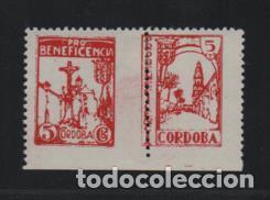 CORDOBA, 5 CTS.- PAREJA TIPO A Y B UNIDOS- VER FOTOS (Sellos - España - Guerra Civil - Locales - Usados)