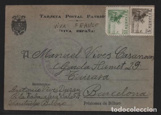 POSTAL PRISIONES DE BILBAO- LA TABACALERA- BILBAO A BARCELONA- (Sellos - España - Guerra Civil - Locales - Cartas)
