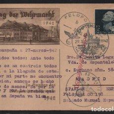 Sellos: CARTA A MADRID- DIVISION AZUL- MARCA ORDEN DIVISION 250 Y SP PEQUEÑA EN ROJO- LEER--LE DIERO CRUZ HI. Lote 206496282