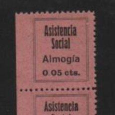 Sellos: ALMOGIA,. PAREJA CON DOS TIPOS DE A DE ASISTENCIA--PICO Y CHATA- VER FOTO. Lote 206497048