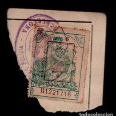 Sellos: 0044 FISCAL DE 5 PTAS, CLASE 5ª HABILITADO PARA 6 PTAS DE CLASE 5ª EN 1926 SELLO DE LA JEFATURA SUPE. Lote 206530796