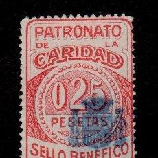 Sellos: 0114 LA CORUÑA PATRONATO DE LA CARIDAD SELLO BENEFICO FESOFI Nº 81 VALOR O,25 PESETAS ROJO VARIEDA. Lote 206539251