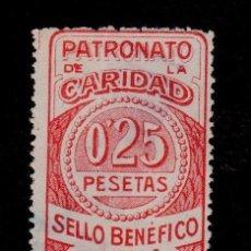 Sellos: 0114 LA CORUÑA PATRONATO DE LA CARIDAD SELLO BENEFICO FESOFI Nº 81 VALOR O,25 PESETAS ROJO. Lote 206539391
