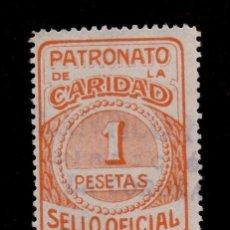 Sellos: 0114 LA CORUÑA PATRONATO DE LA CARIDAD SELLO OFICIAL FESOFI Nº 79 VALOR 1 PESETA NARANJA AMARILLO. Lote 206539547