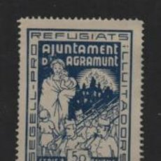 Sellos: AGRAMUNT- 50 CTS. AZUL- PRO REFUGIADOS- SOFIMA Nº 4.- VER FOTO. Lote 206580235