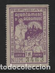 AGRAMUNT- 1 PTA- PRO REFUGIADOS- SOFIMA Nº 6.- VER FOTO (Sellos - España - Guerra Civil - Locales - Nuevos)
