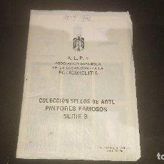 Sellos: ALPE ASOCIACION ESPAÑOLA DE LA LUCHA CONTRA LA POLIOMIELITIS - COLECCION SELLOS . LEER DESCRIPCION. Lote 206887028