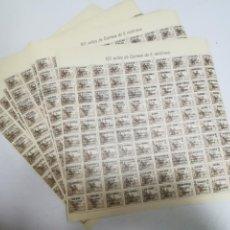 Selos: LOTE DE 5 PLIEGOS DE 100 SELLOS DE 5 CENTIMOS CADA UNO. ESPAÑA 1936/1939. VER FOTOS.. Lote 207060825