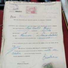 Sellos: 1927, CERTIFICADO DE PENADOS, POLIZA FISCAL 7ª CLASE, 2,40 PESETAS, Y SELLO MUTUALIDAD JUDICIAL. Lote 207179492
