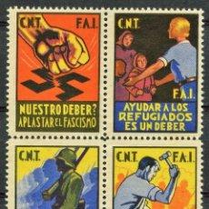 Sellos: GUERRA CIVIL, VIÑETA, CONFEDERACIÓN NACIONAL TRABAJO, C.N.T., F.A.I., 1938, (4). RARO. Lote 207190486