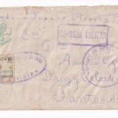 Sellos: SOBRE FRENTE Y HOSPITALES.DIBUJO AL DORSO. REGIMIENTO INFANTERIA BAILEN. A SANTANDER. Lote 207260287