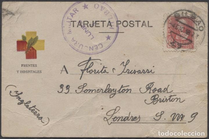 1938 TARJETA DE FRENTES Y HOSPITALES A FLORITA IRISARRI (LEER INFORMACIÓN EN INTERIOR) (Sellos - España - Guerra Civil - De 1.936 a 1.939 - Cartas)