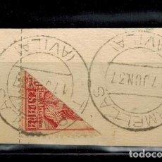 Sellos: RECORTE DE CARTA CON SELLO BISECTADO ISABEL LA CATOLICA MATASELLOS 17-6-1937. Lote 207536750