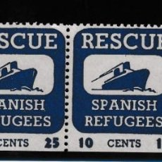 Sellos: REFUGIADOS SPANISH REFUGEES RESCUE. 25 Y 10 CTS. Lote 207545420