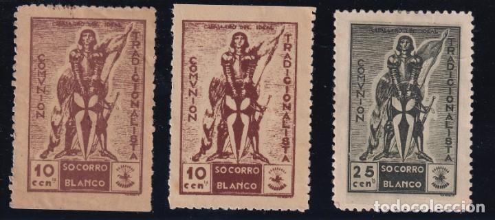 SOCORRO BLANCO. COMUNIÓN TRADICIONALISTA. 3 VALORES 10, 10 PAPEL DIFERENTE TONO Y 25 CTS CARLISMO (Sellos - España - Guerra Civil - De 1.936 a 1.939 - Usados)