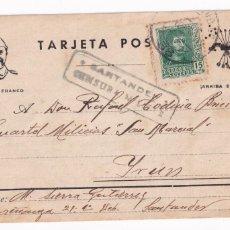 """Sellos: SANTANDER A IRUN. TARJETA POSTAL DIRIGIDA A CUARTEL MILICIAS """"SAN MARCIAL"""" CARLISMO REQUETES CENSURA. Lote 207547196"""