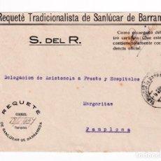 Sellos: FRONTAL CON MEMBRETE Y FRANQUICIA IMPRESA CORREOS REQUETES DE SANLUCAR DE BARRAMEDA. A PAMPLONA. Lote 207547608
